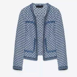 Zara boucle tweed blazer jacket